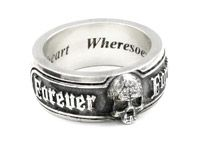 Bespoke skull ring with personal sentiment in silver