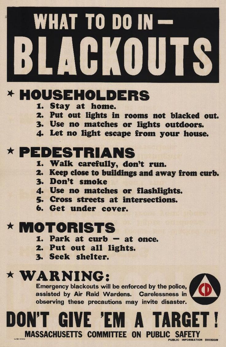 """""""What To Do In - Blackouts"""" Massachusetts Committee on Public Safety Civil Defense 1942"""