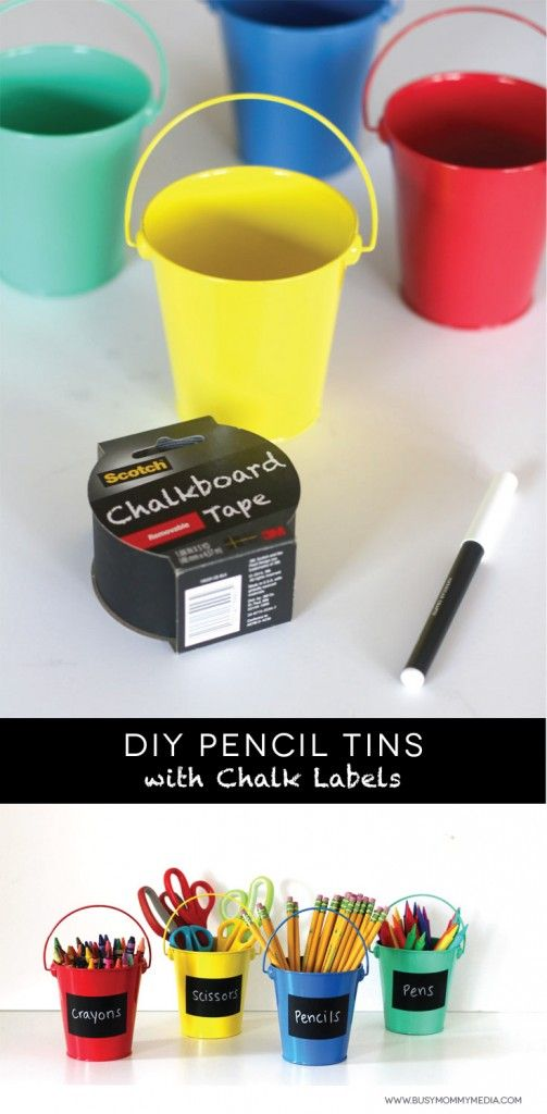 DIY Pencil Tins with Chalk Labels on BusyMommyMedia.com | This is such a cute way to organize school supplies!
