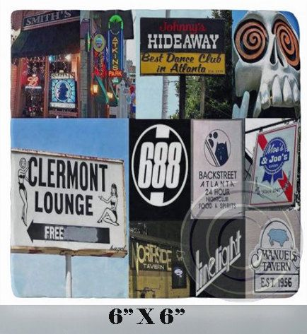 Atlanta Bars & Clubs Collage 6 X 6 Marble by CoastersByHazel