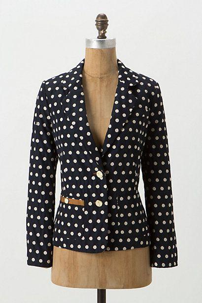 polka dot blazer w/ caramel trim: Light Pink Blazers, Brown Trim, Brown Skirts, Skinny Jeans, Jackets, Buttons, Anthropologie Com, Jojo Blazers, Polka Dots Blazers