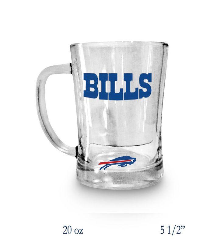 BUFFALO BILLS NFL BEER MUG  20oz Clear GLASS NFL Bills Football Mug #Handmade