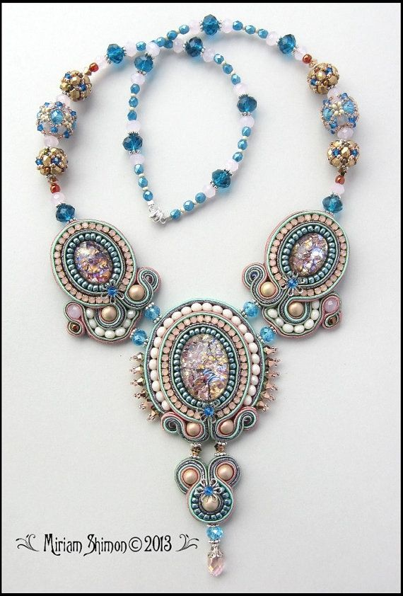 Soutache necklace in Mauve Mint and Glittery Lilac by MiriamShimon, $195.00