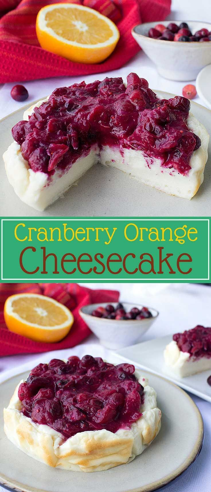 Healthy Cranberry Orange Cheesecake – This cheesecake is pure protein and the topping of cranberry and orange just screams holidays │ TheFitBlog.com