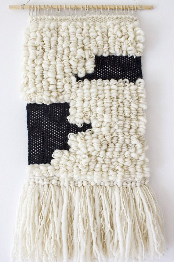 Woven wall hanging   Woven tapestry   Wool wall weaving   Wall art tapestry   Scandi wall decor   Scandinavian style   White, black weaving