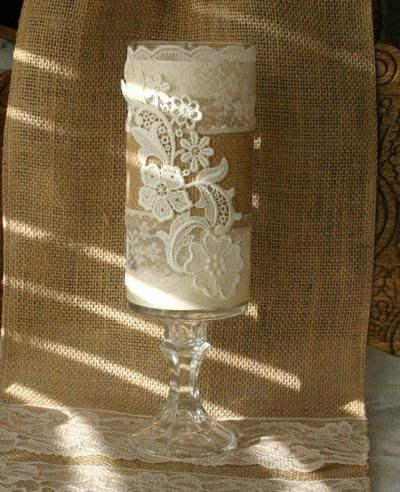 burlap and lace wedding decorations