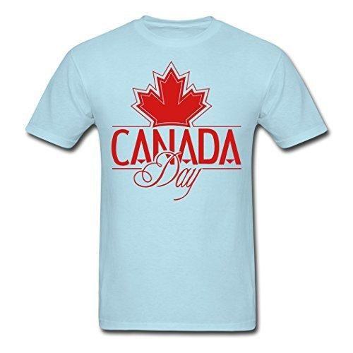 ZAKE Funny Cotton Men's Canada Day T-Shirts Sky blue XL