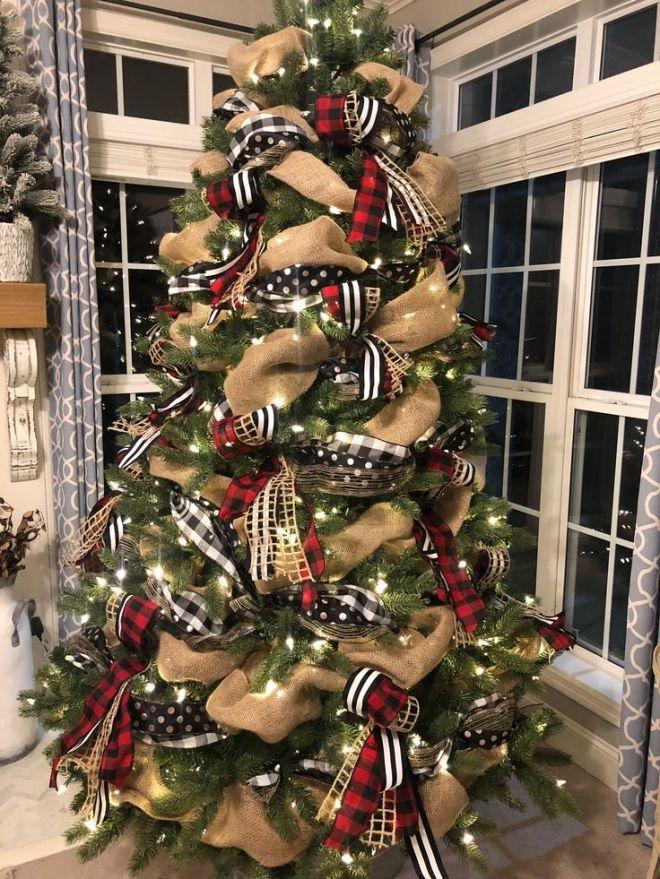 Buffalo Check Christmas Tree With Ribbon 2018 Christmas Decorations Rustic Ribbon On Christmas Tree Rustic Christmas
