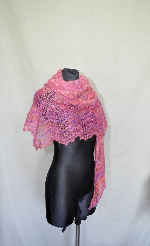 Pink Yarrow Mohair Shawl Hand Knit Shawl Lace Shawl Winter #knitshawl #laceshawl #crochetscarf, #MohairShawl, #pinkMohairShawl