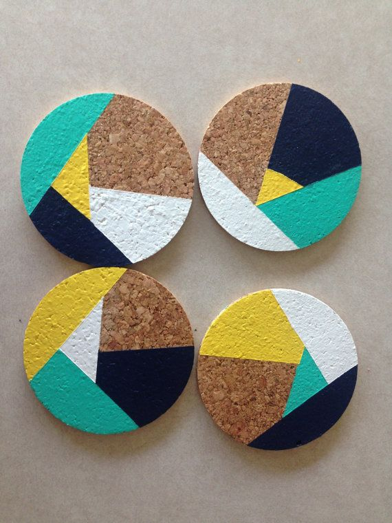 "Navy Yellow Teal White Abstract 4"" Round Cork Coasters"