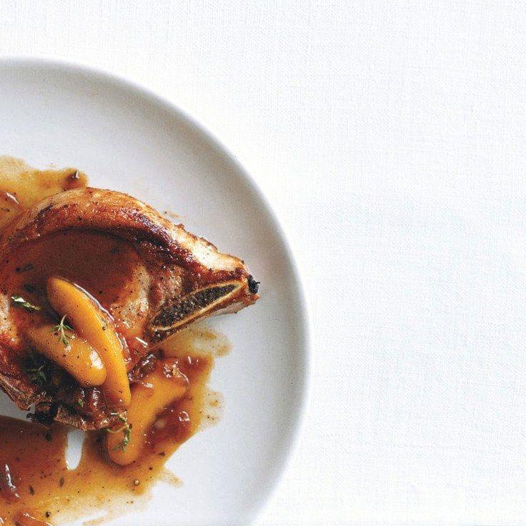 Brandied-Peach Pork Chops (Kick-start compliant)