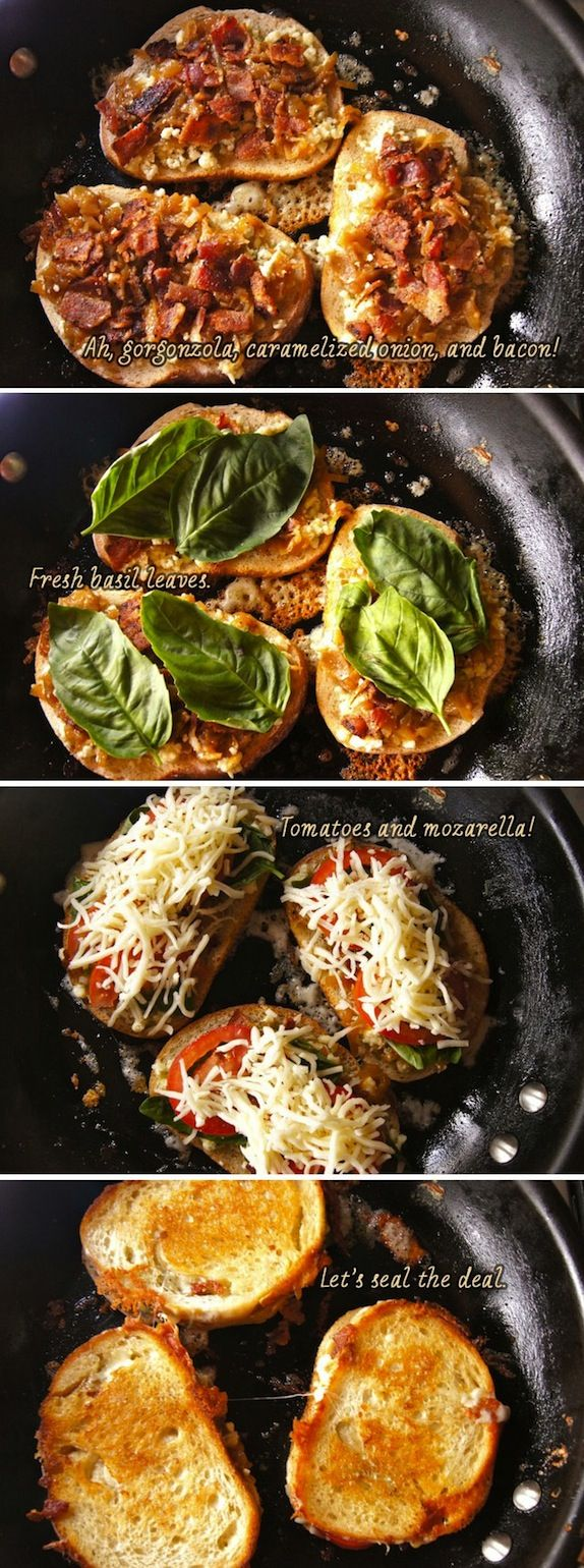 *** Made these on popeye bread from great harvest. Used havarti, Muenster and colby jack. 2 slices bacon, tomato and fresh basil.