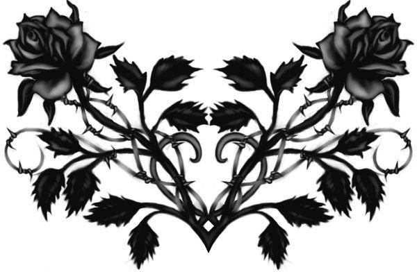 Gothic Black Rose Back Tattoo by Runeflame.deviantart.com on @deviantART