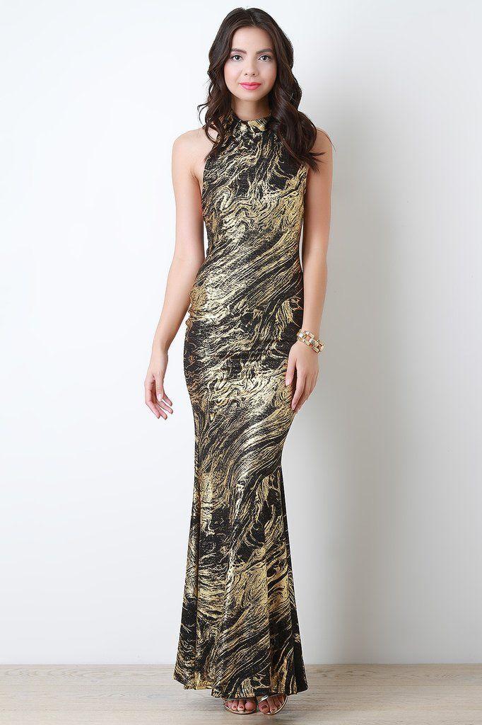Semi Sheer Mock Neck Metallic Maxi Dress