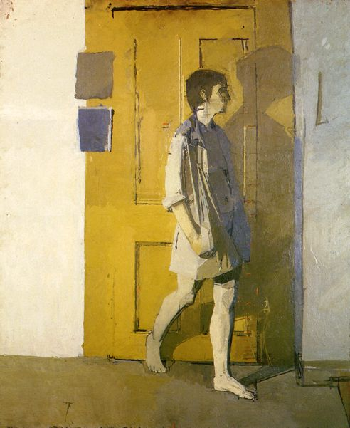 The artist is Euan Uglow. Really beautiful figurative paintings. He was obsessed about getting measurements and proportions right. Tick marks to measure key points were dutifully preserved even as layers of paint accumulated over the canvas.