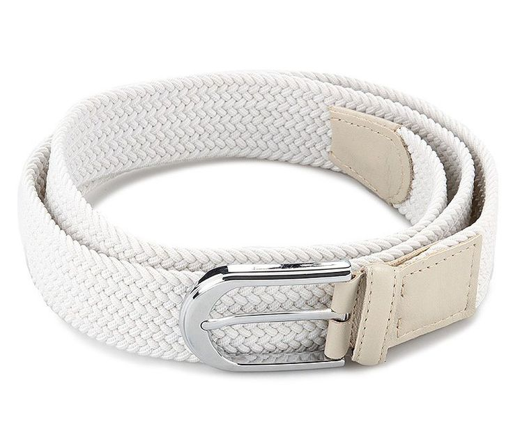 La Elastic Belt by Louis Andreano. White constructed with woven braided elastic material and white leather trim, made stretchy,with silver buckle,  covered buckle with a leather end. This piece is so stylish.    http://www.zocko.com/z/JFEn1