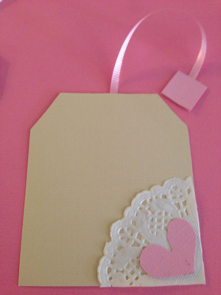 Little girls Tea Party Invitations with Card stock, Ribbon and paper doily.