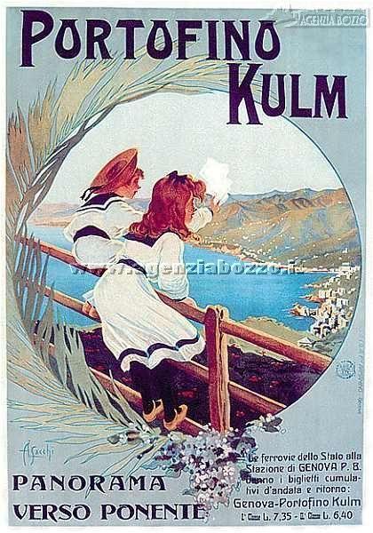 Grand Hotel Portofino Kulm (Portofino, Genova Riviera Ligure). Vista panoramica verso ponente. Vintage travel poster art deco  liberty style . #riviera #essenzadiriviera www.varaldocosmetica.it