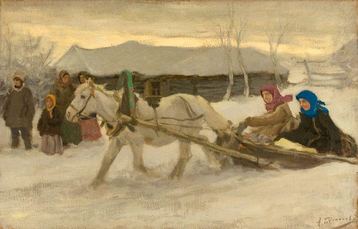 """Winter In Village"", Alexsei Stepanovich Stapanov. #20thCentury #Painting #Realism #Russian"