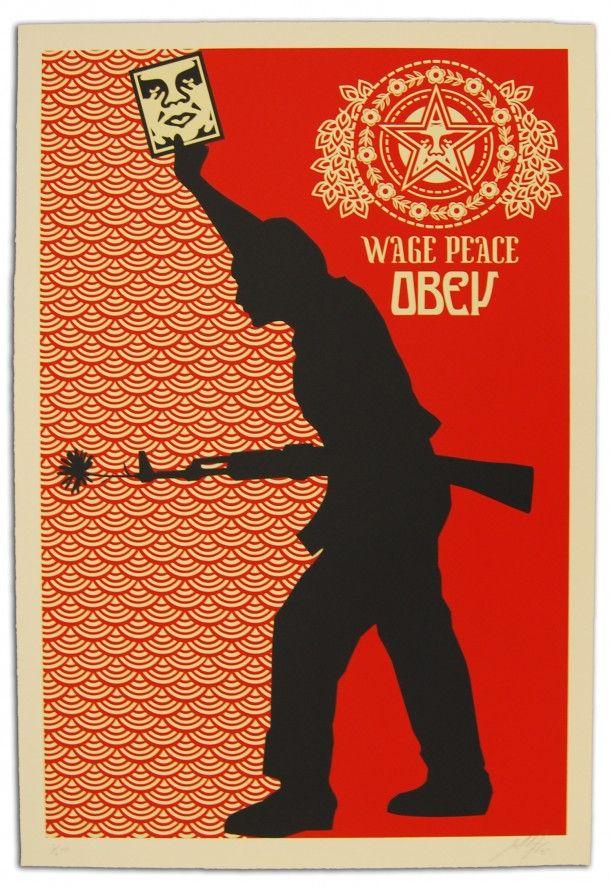 Street art OBEY Giant Wage Peace