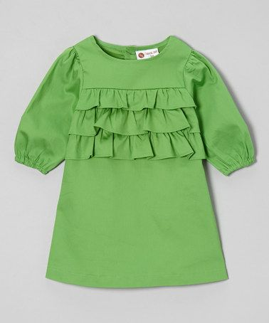 Green Ruffle Dress - Infant, Toddler & Girls by Smockadot Kids on #zulily #ad *simple holiday dress