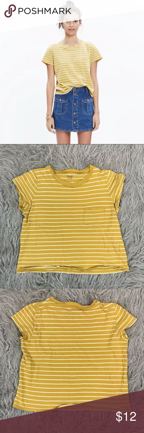 "Madewell Radio Tee Yellow Striped Crop Top In used condition. Very small micro hole shown in close up picture where I am pointing. Mustard yellow base with white stripes. Super cute pocket detail. Stretchy! 100% cotton. Size XS, please refer to measurements to ensure a proper fit.   Across: 17"" Length: 18"" Madewell Tops Crop Tops"