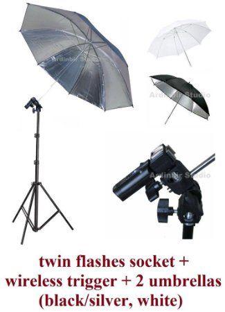 "Amazon.com: Studio Twin Flash 43"" Umbrellas Stand Kit with Wireless Remote Trigger for Canon EOS 600D, 650D, 450D, 1000D, 550D, 400D, 500D, ..."