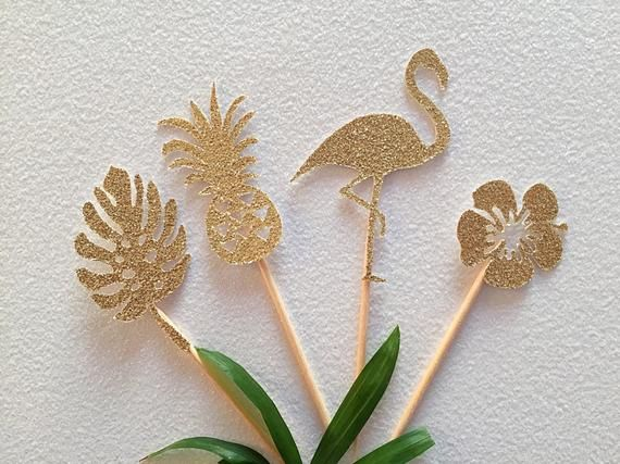 Tropical toppers- flamingo toppers- pineapple toppers- monstera toppers- tropical themed- hibiscus toppers- cupcake toppers- tropical party