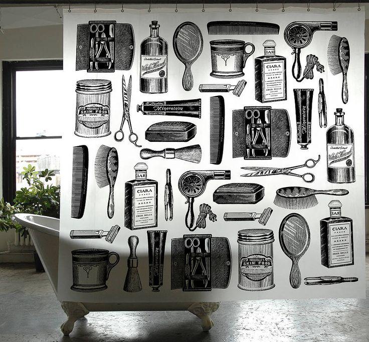 barber shop shower curtain by men's society | notonthehighstreet.com