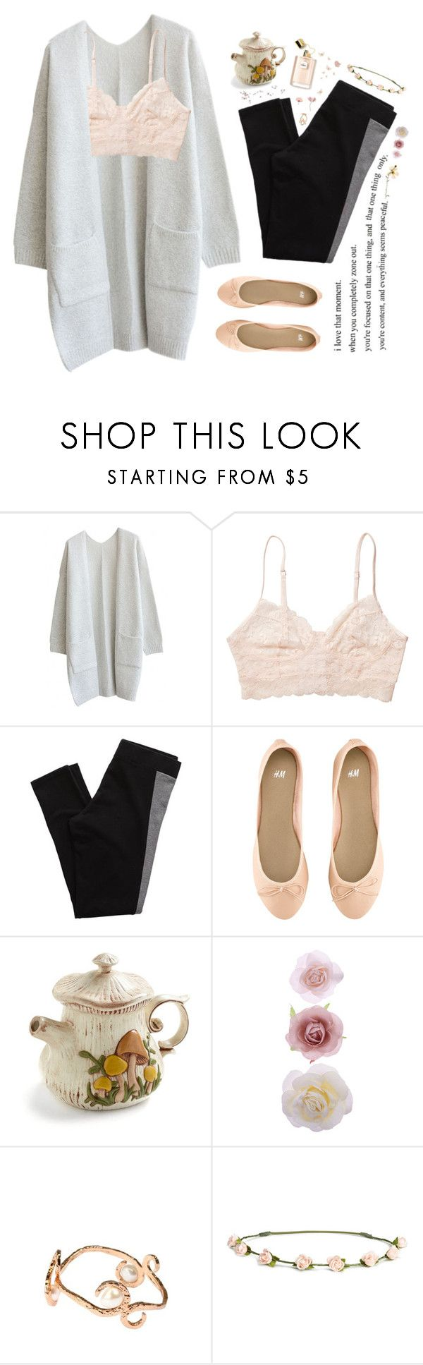 """""""Introspection"""" by skydancer18 ❤ liked on Polyvore featuring Monki, Aerie, H&M, Accessorize, ANDREA PICCINI, casual, Pink, Flowers, Leggings and bralette"""