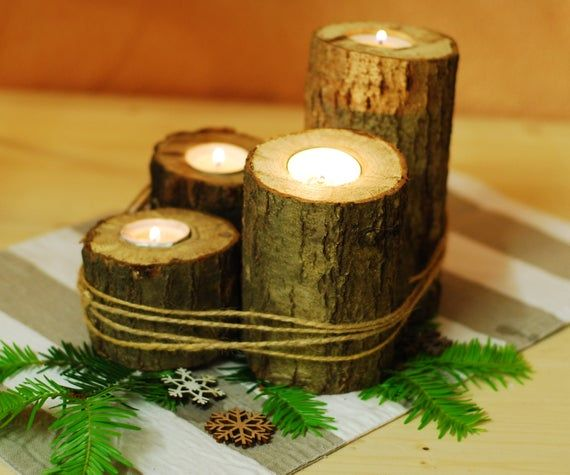 Wooden Candle Rustic Candle Wood Tea Room Holder Advent Candle