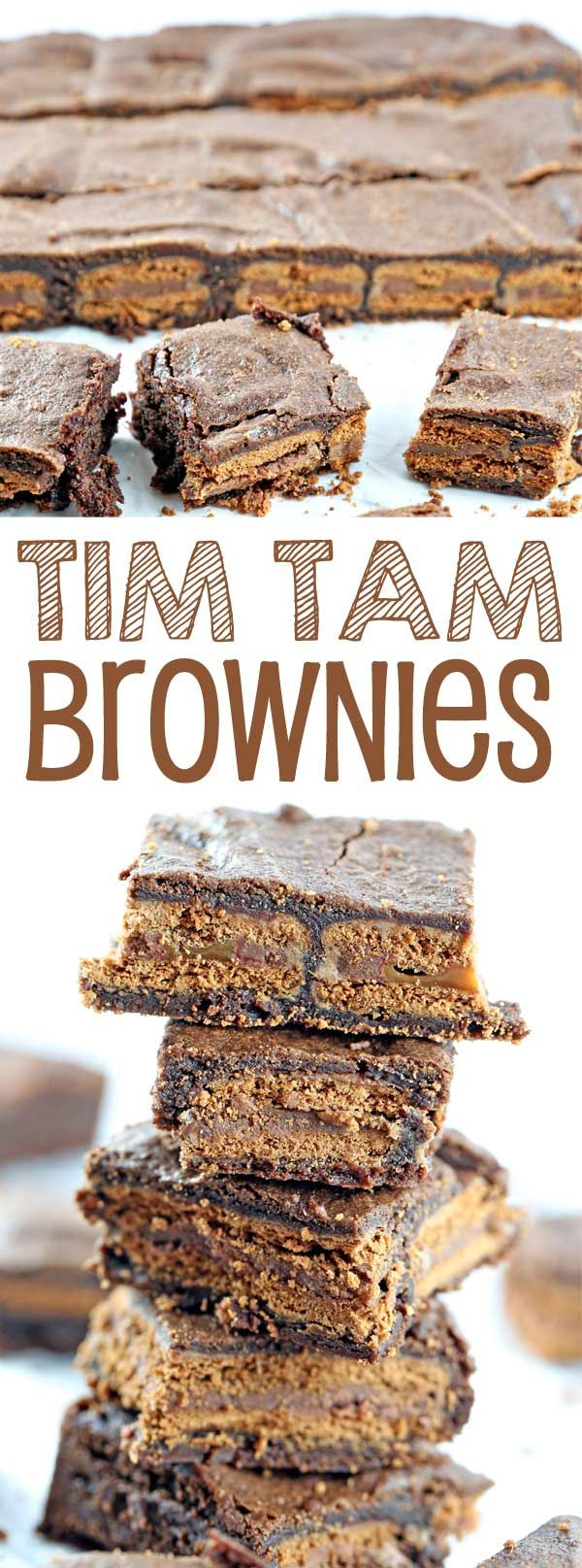 Tim Tam Brownies: extra chocolatey brownies with an unexpected crunch, mixed by hand in one bowl. {Bunsen Burner Bakery}