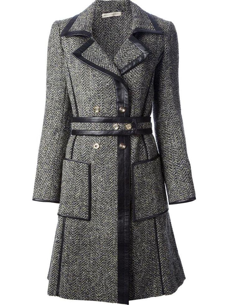 Balenciaga Belted Tweed Coat