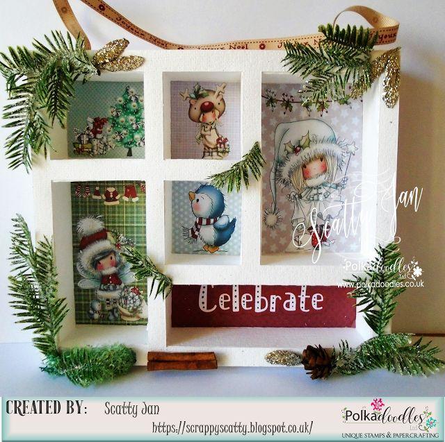 Christmas, Christmas Crafts, Crafty Ribbons, Polkadoodles, polkadoodles crafting, polkadoodles stamps, Winnie White Christmas