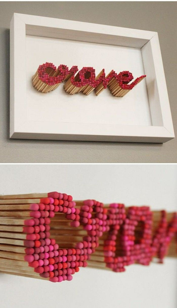 Great way to use matchsticks, maybe put glass in front of this in case someone is tempted to light one!