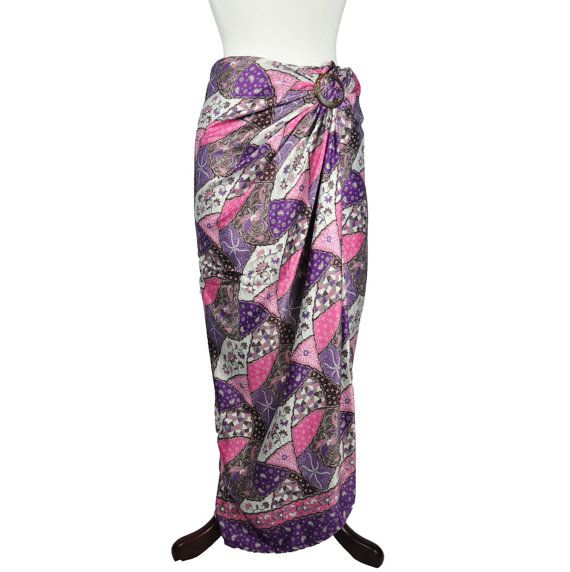 Nadine Pink Purple Silk Sarong by HeritsyShop on Etsy, $39.90