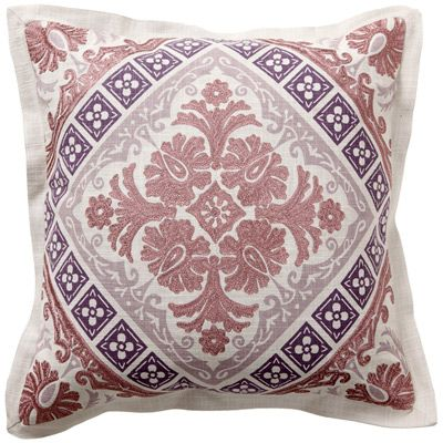 Enliven a room with modern chic as these decorative pillows add a dose of trendsetting color and inventive design. Inspired by traditional damask, a plum and grey floral pattern dramatically contrasts against a natural linen background. Sold as a pair, the down-filled pillows easily blend with other solids and patterns for an eclectic look on a sofa, chair or bed.