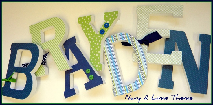 Baby Nursery Wall Letters -Brayden's NAVY and LIME Theme - Six Inch Wooden Letters. $7.50, via Etsy.: Babies, Brayden S Navy, Letters Brayden S, Baby Room, Baby Nursery, Wooden Letters, Wall Letters, Baby Boy