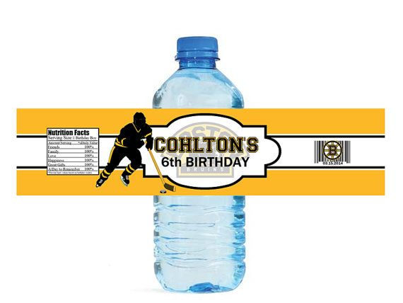 Personalized sport themed water bottle label. You choose your own colors and background. Can be customized for any event. Any sport can be