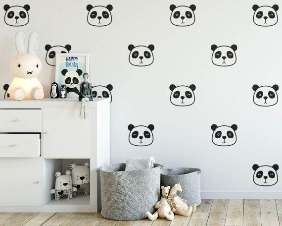 panda wall decals - nursery decals, cute panda face decals, vinyl