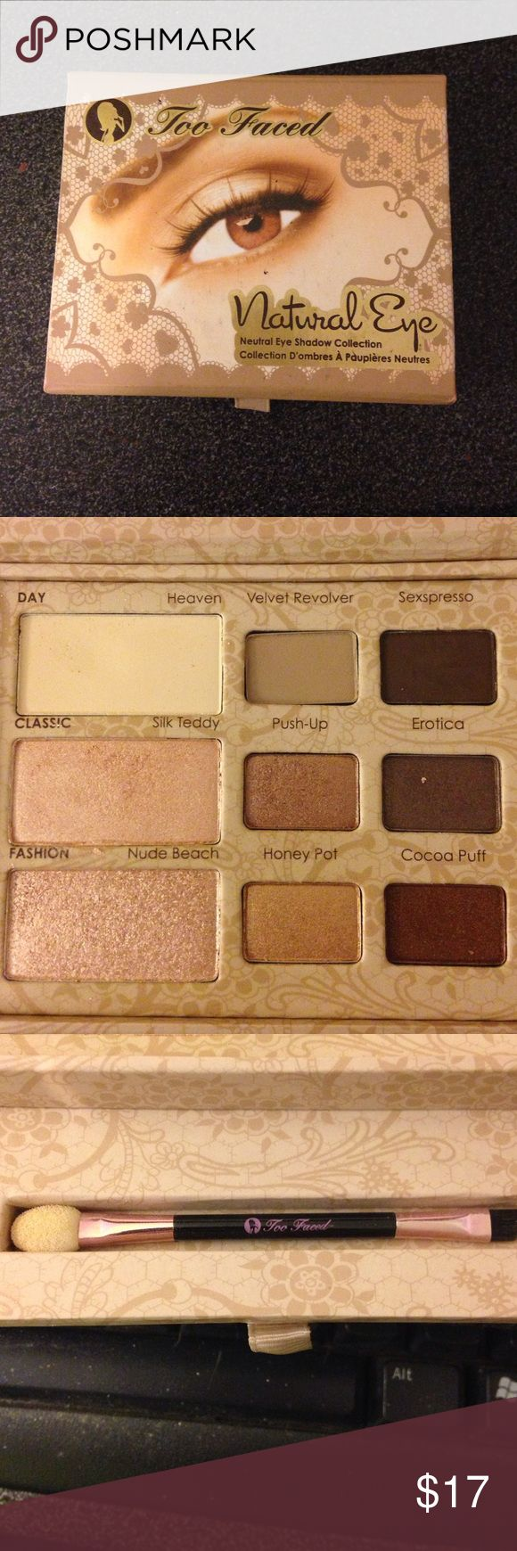 Too faced eyeshadow box Two faced natural eyeshadow box with brush. New never used Too Faced Makeup Eyeshadow