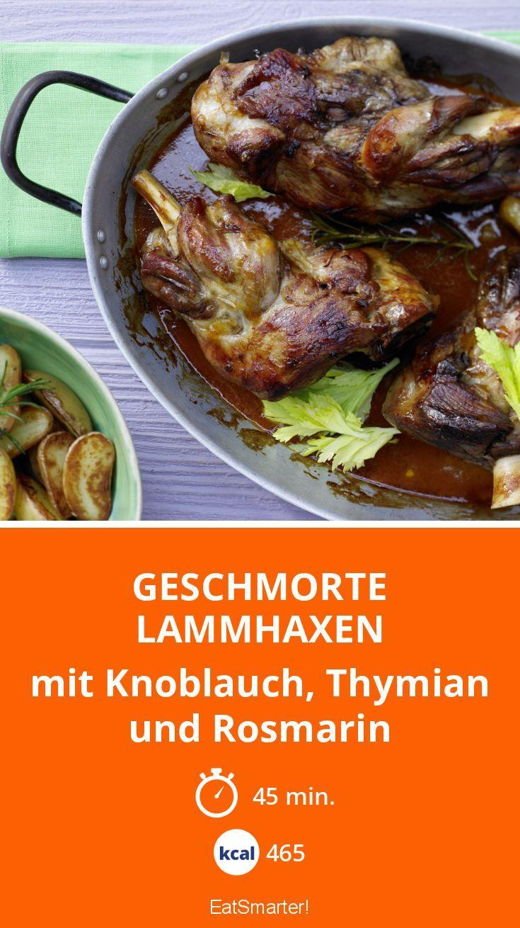 Geschmorte Lammhaxen - mit Knoblauch, Thymian und Rosmarin - smarter - Kalorien: 465 kcal - Zeit: 45 Min.   eatsmarter.de