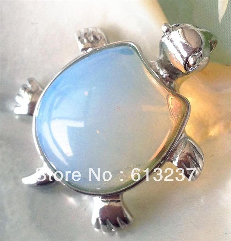 Pendiente para cadena colgante de tortuga, plata 925 piedra Opalo