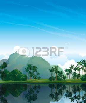 Paesaggio tropicale con palme e di riflessione nel lago su un cielo blu. photo