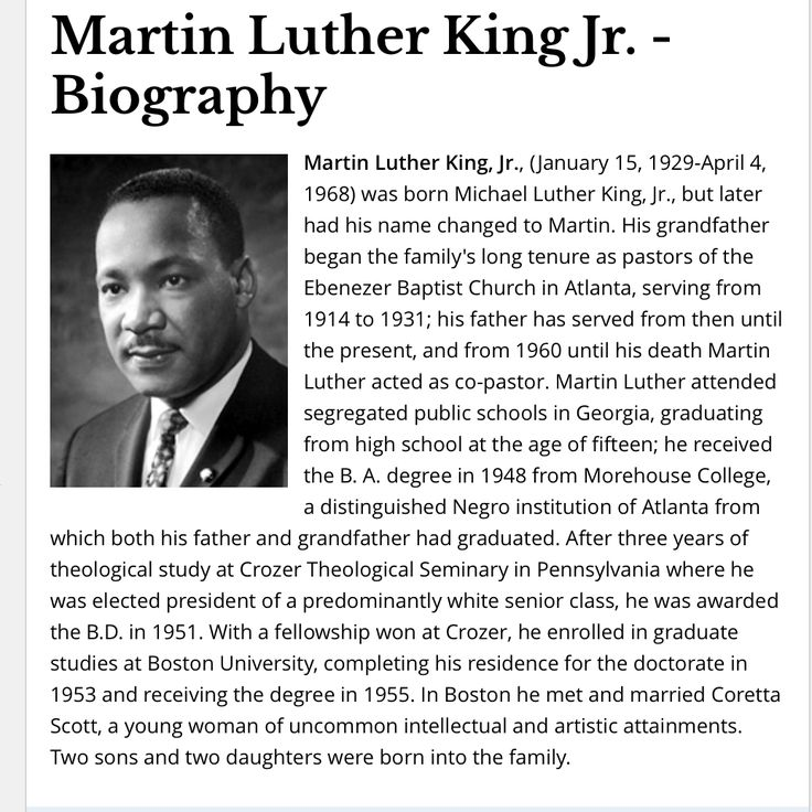 Martin Luther King Jr.- Children's Biography study that is well known by students for his exemplary work and accomplishments through his lifetime.