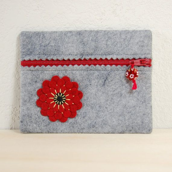 Wool Felt Zipper Pouch Red & Black Flower Hand by TheBlueDaisy