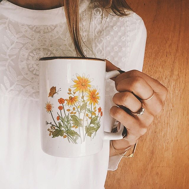 My most favourite mug  the little reminders  There was this special yellow butterfly that found me in the same spot numerous times after she passed, I found this mug at a thrift shop the week after. Whoever hand painted this many years ago was doing something sweet for me. #goldiebloom