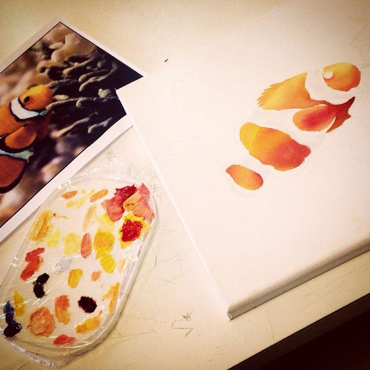 Pesce pagliaccio - colori a olio: work in progress..
