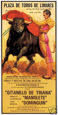 Vintage Bullfight Poster of famous matador Manolete versus the brave bull.