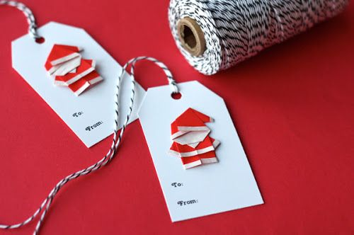 Make tiny origami Santas to accent your gift tags.